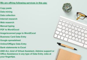 I will do Word and Excel DATA ENTRY, Web Research and Typing